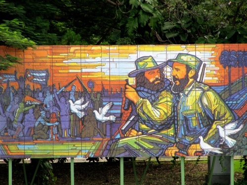 Fidel Castro and Camilo Cienfuegos immortalised in rainbow hues, Plaza De La Revolucion