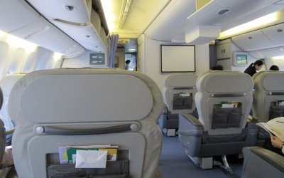 Splendid Isolation at the front of the plane - the best way to avoid being close to unpleasant passengers , but not always possible