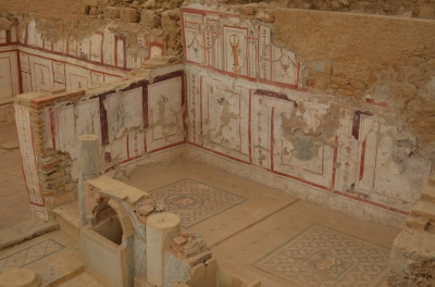 Tiles and frescos in the houses