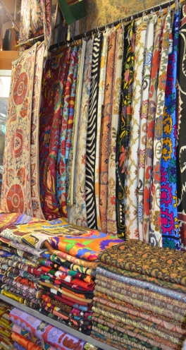Beautiful textiles at the souq